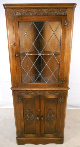 Carved Oak Standing Corner Cupboard by Reprodux